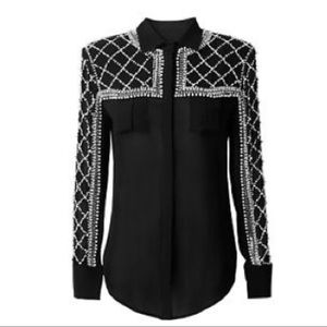 Balmain H&M beaded silk blouse